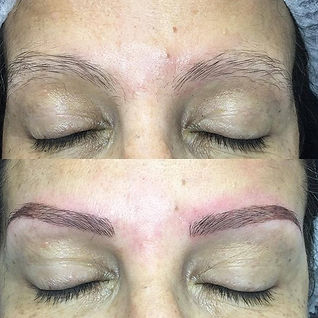 Combination brows of microblading and sh