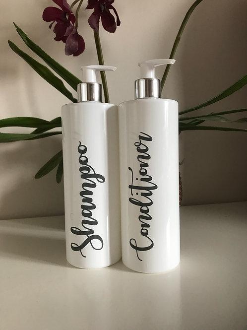 Set of 2 Personalised White Plastic Bottles