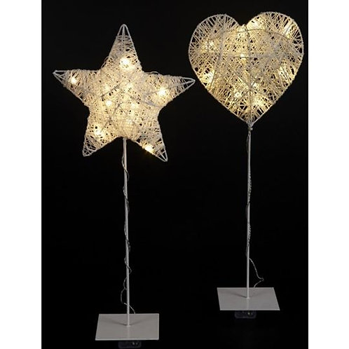 Wire Heart and Star on Stand with LED Light