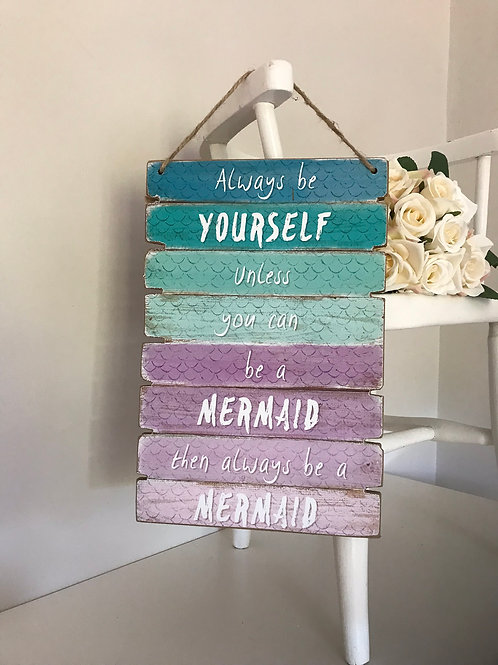 Wooden hanging mermaid sign