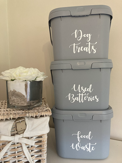Recycled grey plastic storage caddy with lid and handle