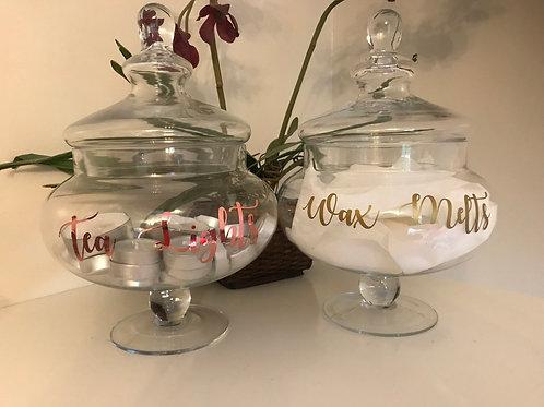 Large retro decorative glass jar