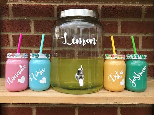 Personalised Glass drinking jar