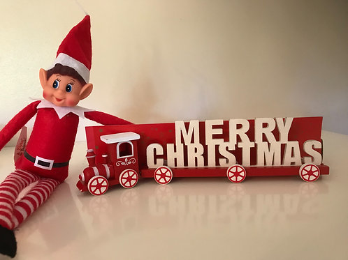 Merry Christmas red & white wooden train