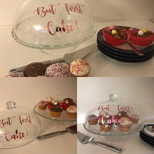 Glass cake/pastry/cup cake stand with lid.