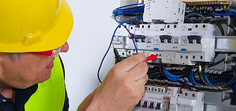 Person fixing issue in electric circuit