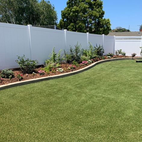 Installation of Artificial turf and plants