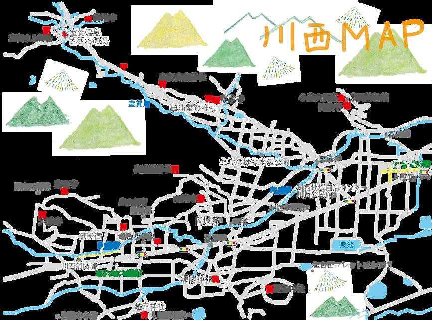 上田市川西地域マップ