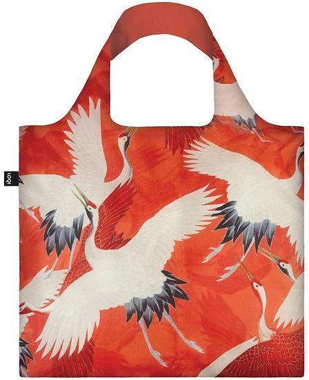 LOQI Museum Woman's Haori White and Red Cranes Canvas & Beach Tote Bag, 50 cm,