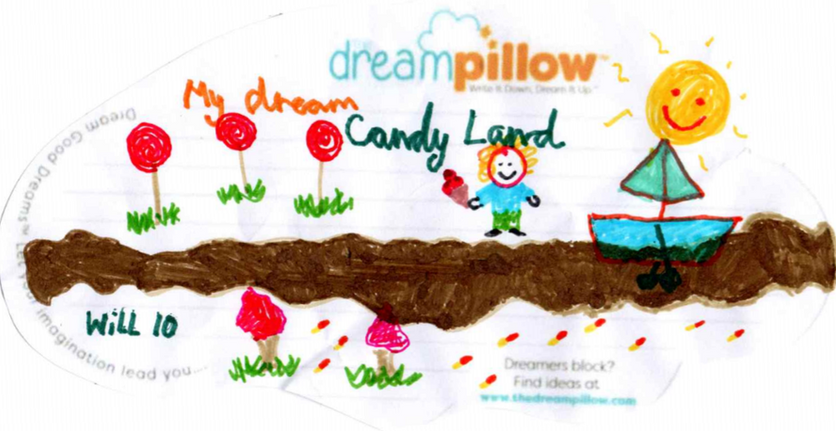 Will (age 10) from Rochester wants to dream about CandyLand  where sunshine melts the chocolate into a river.