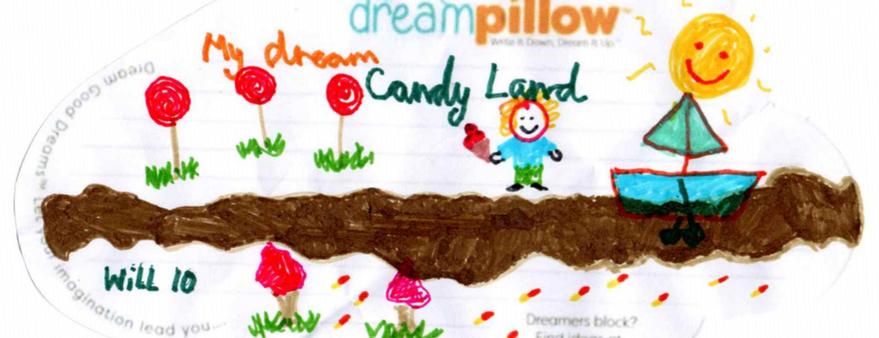 """Will (10 años) de Rochester quiere soñar con """"El Reino de Caramelo"""" donde la luz del sol funde el chocolate formando un rio."""