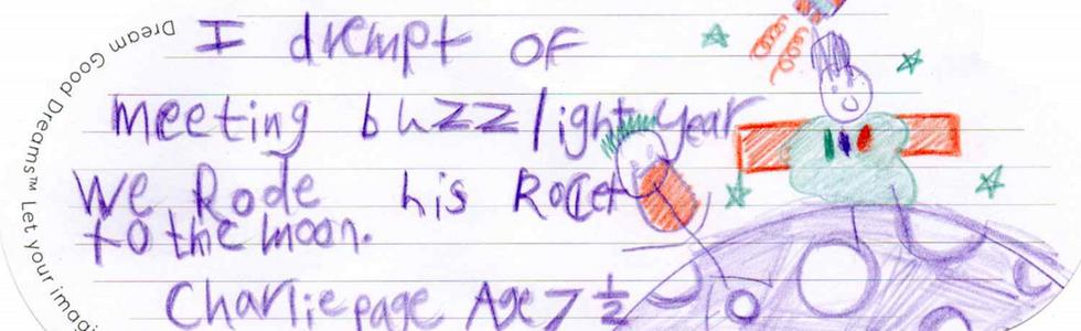 In questo sogno Charlie da Bergamo ( 7 anni e mezzo) incontra Buzz Lightyear per visitare insieme la Luna.