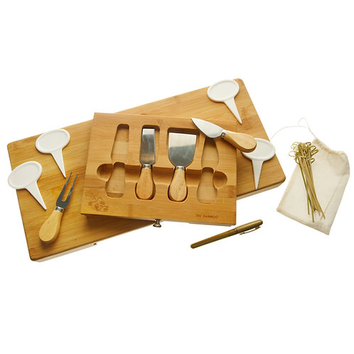 28 Piece Extra Large Bamboo Cheese Board Including Four Piece Knife Set I White