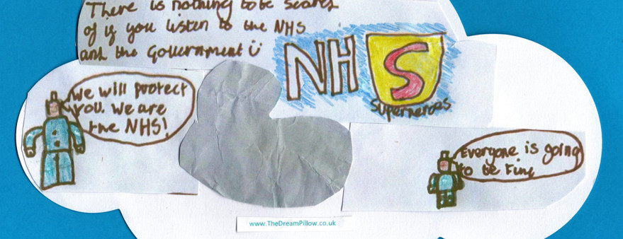 Alfie soñó con este dibujo de dos partes que nos tranquiliza. La primera incluye enfermeros/as y doctores/as hechos de Lego.