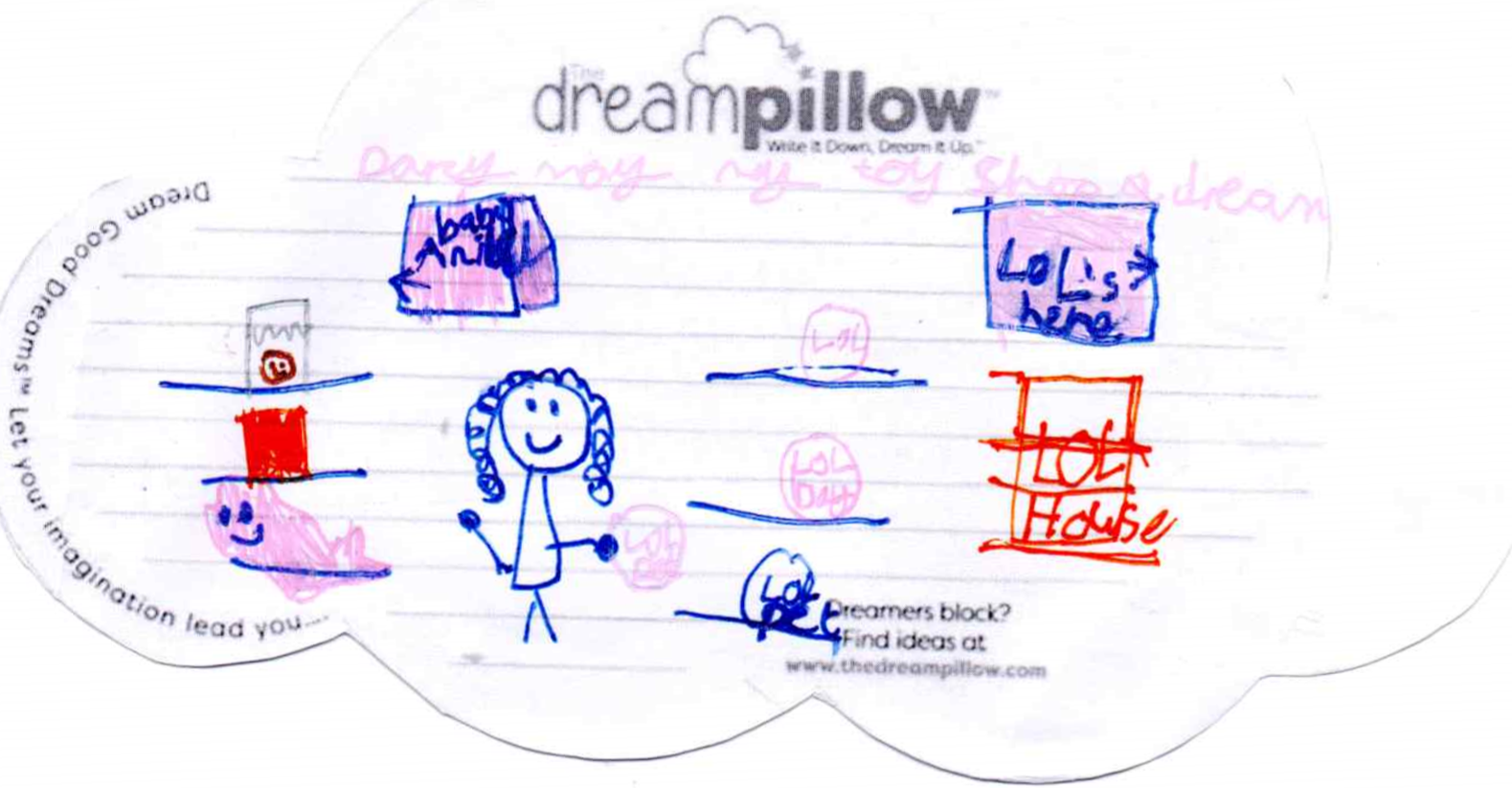 Darcy (7 años) dibujó su tienda de juguetes ideal en la que había muchísimas muñecas.