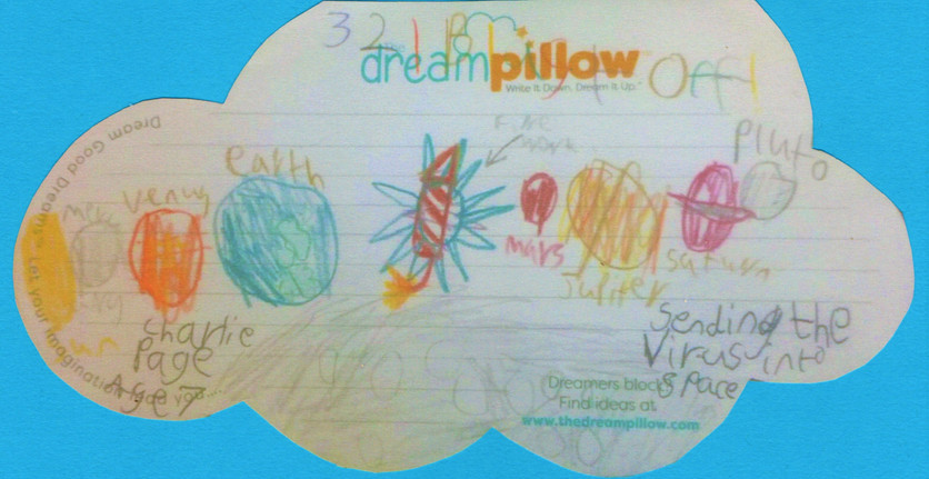 Charlie (age seven and a half) dreams of attaching the virus to a firework rocket and sending COVID out of the Solar System.