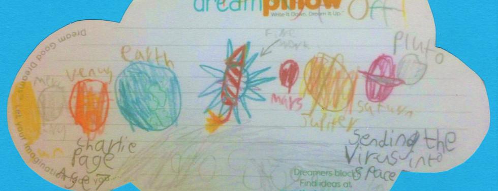 Charlie, 7anni, ha sognato di appiccicare il virus COVID su un petardo e mandarlo al di fuori del sistema solare