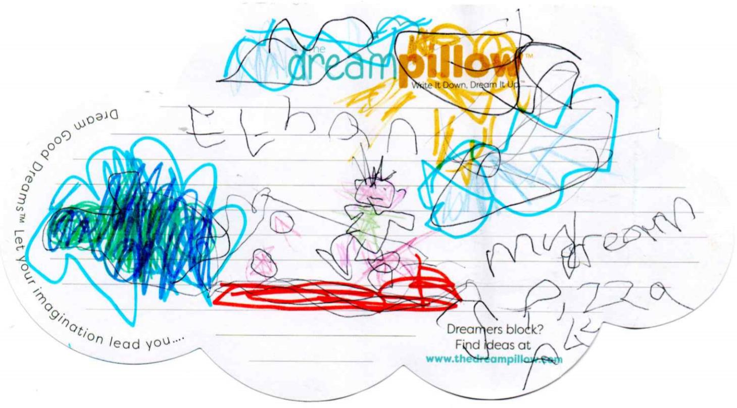 Ethan (6 años) de Wakefield se ha dibujado viajando por el mundo en una pizza voladora, como en su sueño favorito.