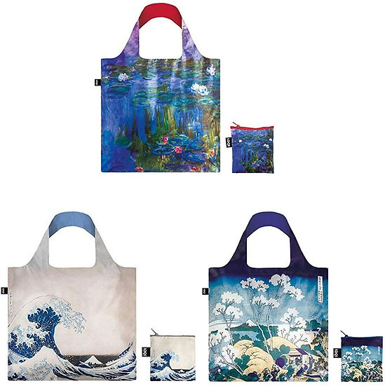 LOQI Set of 3 Artists Claude Monet Water Lilies, Great Wave 1831, and Mount Fuji