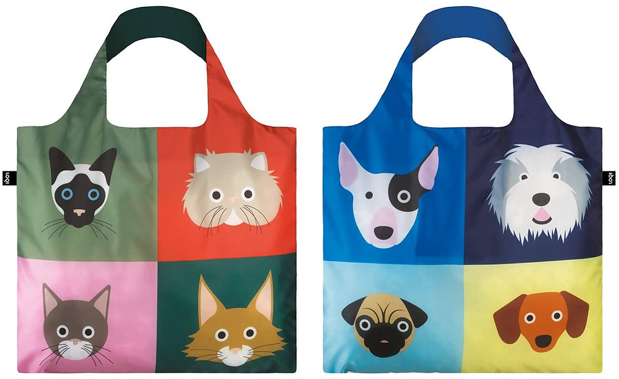"LOQI ""Stephen Cheetham"" Cats/Dogs Reusable Shopping Bag (Pack of 2)"