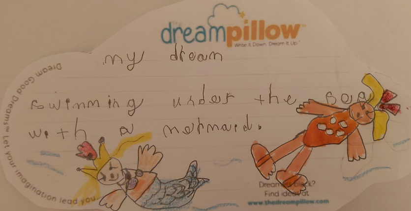 Diana from Tunbridge sent us this picture  of her favourite Dream Wish Note under the sea with a Mermaid!