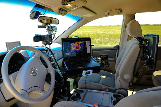inside storm chaser vehicle
