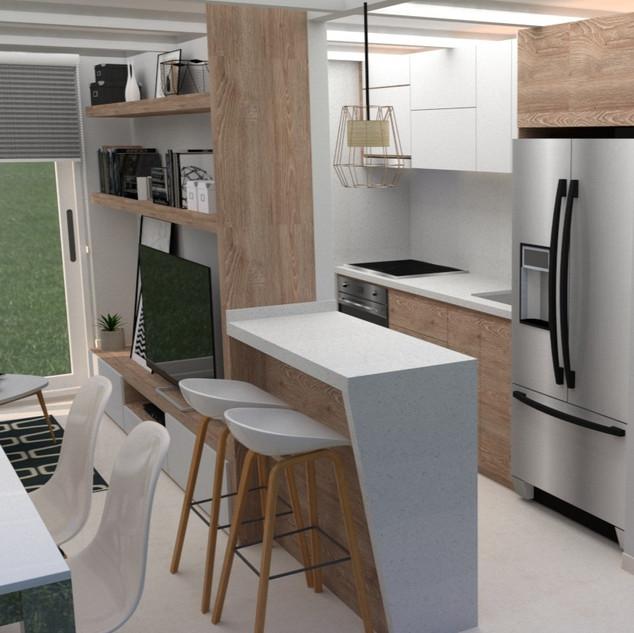 Barra de cocina con almacenamiento