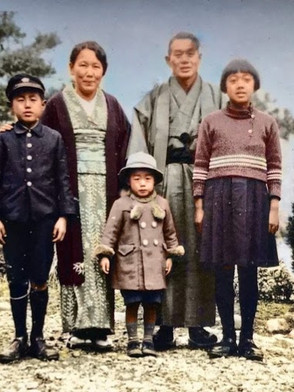 最後の明子さんの家族写真(1938年2月11日 三滝自宅庭)