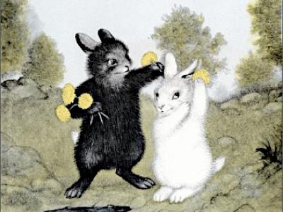 雑誌「ku∶nel」で、「愛はほわほわ」という特集の中で紹介されたガース・ウィリアムズの『しろいうさぎとくろいうさぎ』。 森の中の愛の物語です。