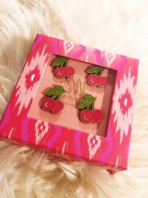 Maude Ashbury Enamel Cherry Push Pins