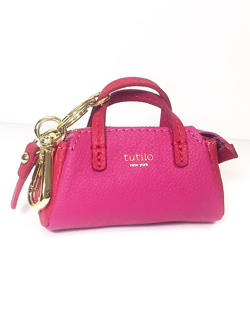 """Pink/Red Tutilo """"Power the Day"""" Mini Satchel Charm Charger"""