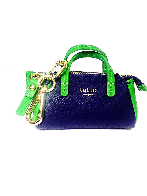 "Navy/Green Tutilo ""Power the Day"" Mini Satchel Charm Charger"
