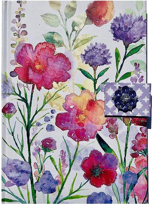 Punch Studio Glitter Embellished Journal w/Jewel Brooch Closure ~ Watercolor Flo