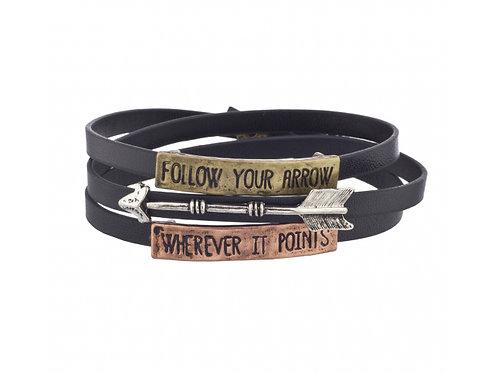 Follow Your Arrow Wherever It Points Faux Leather Wrap Bracelet