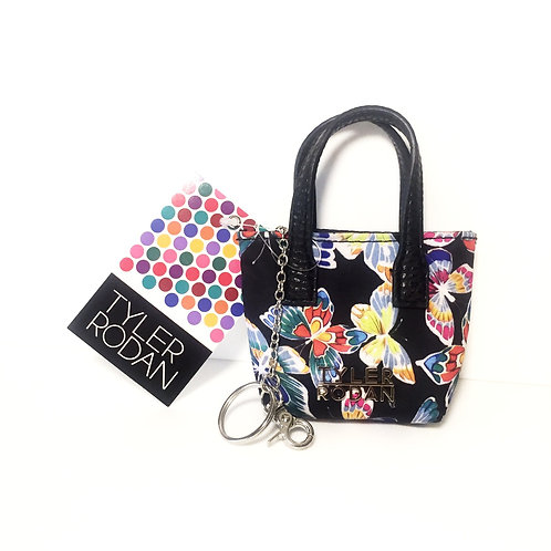Black/Butterflies - Tyler Rodan Miniature Tote Bag Keychain