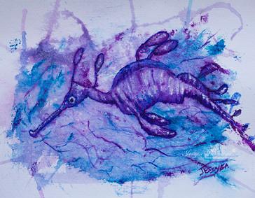 Purple Sea dragon watercolour