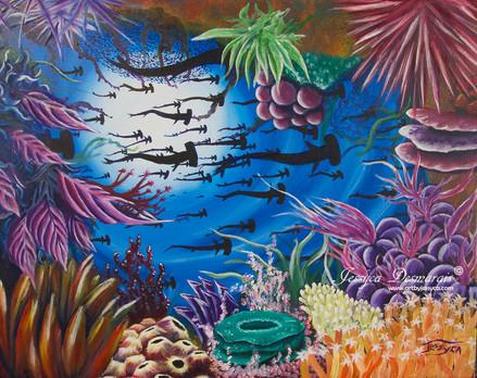 Hammer sharks through reef