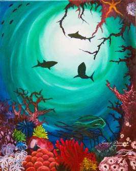 Shark shadow oil on canvas