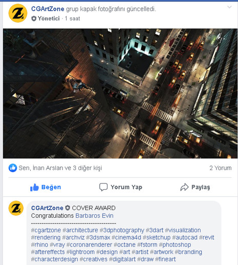 """Our  """"Timeless City"""" 3d works won a Cgartzone Cover Award."""