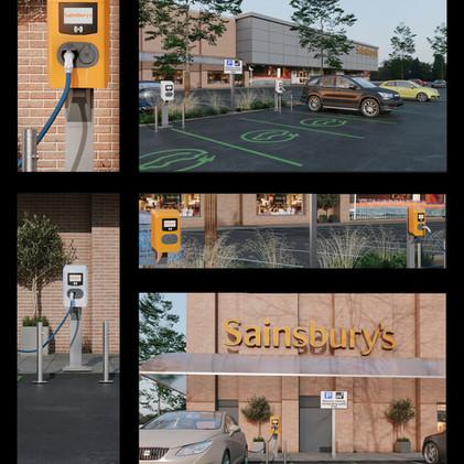 """Public EV Charging stations""  3d production visualization"