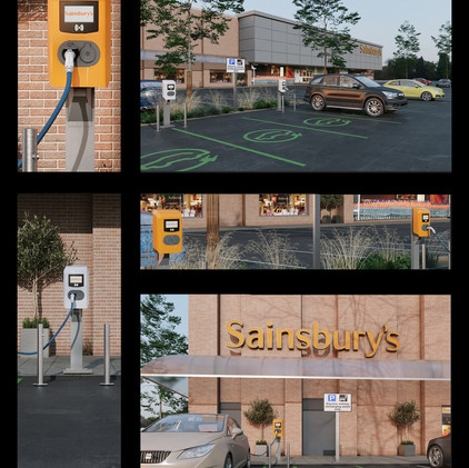"""Public EV Charging stations""  3d production visualization"