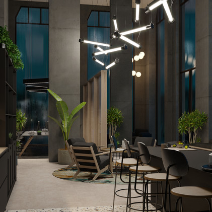 Could you feel the rainy atmosphere in it outside?   | 3d workspace rendering |
