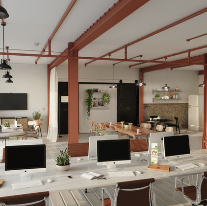 Cosy 3d workplace rendering project