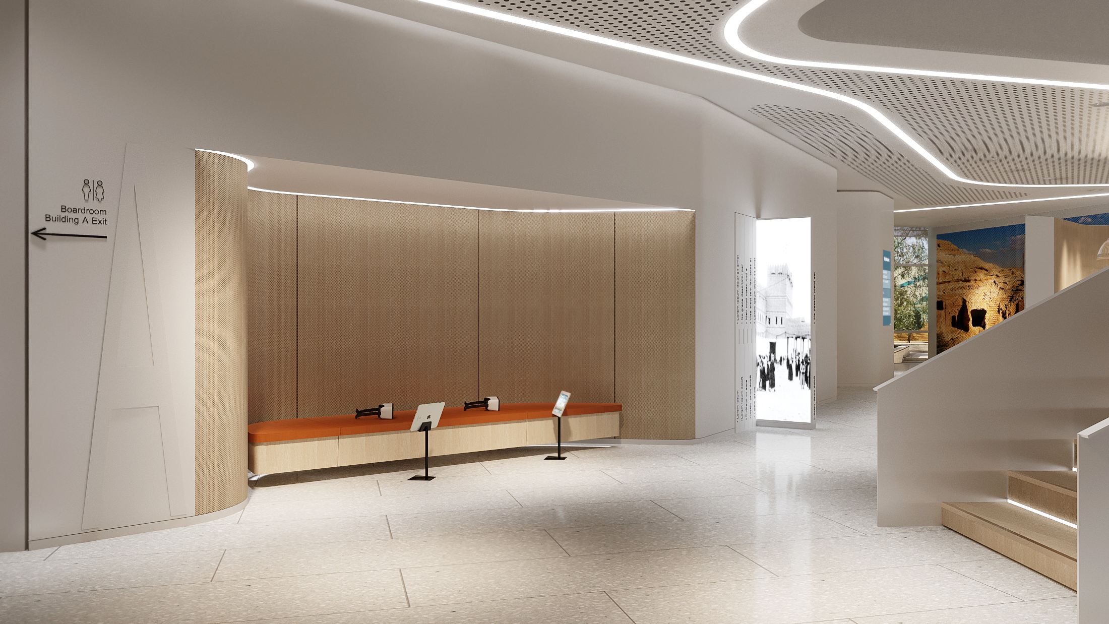 Exhibition area rendering (Aecom)