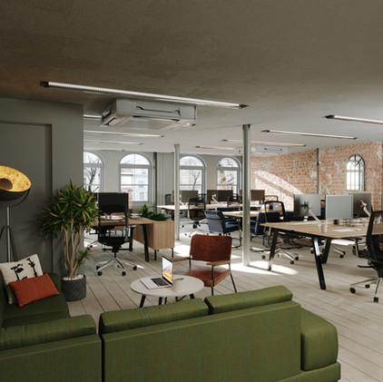 Green, Grey, Timber   | 3d workspace rendering |