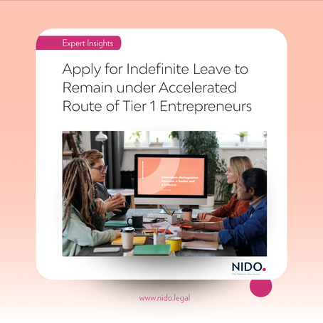 Apply for Indefinite Leave to Remain under Accelerated Route of Tier 1 Entrepreneurs