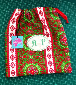 Initials embroidered bags