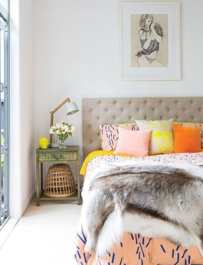 Bring color into your bedroom by adding new bed covering, shams and duvet.