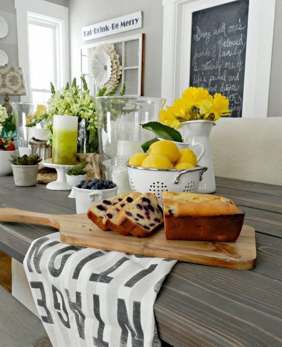 Fill a glass bowl with fruits to decorate your kitchen counter