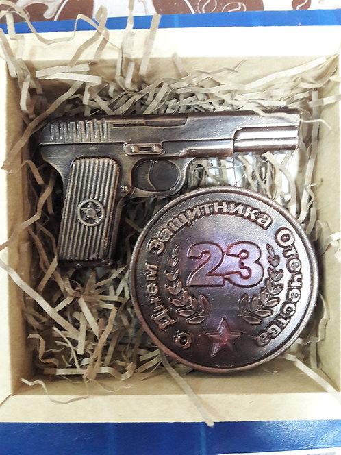 """Набор """"медаль 23 +пистолет"""""""